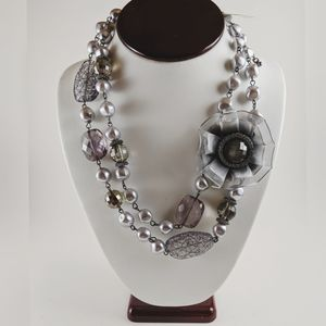 NY & Co 2 Layer Gray Purple Tulle Flower Necklace